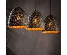 Pendelleuchte in Schwarz und Kupferfarben Metall