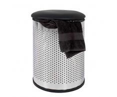 Tonne für Wäsche Schwarz Chrom