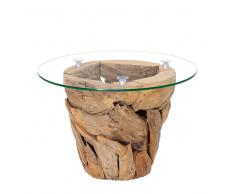 Design Couchtisch aus Teak Recyclingholz runde Glasplatte