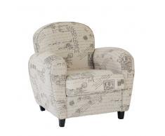 Design Sessel mit Schrift Beige
