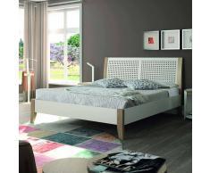 Bett in Weiß mit Eiche Massivholz Metall