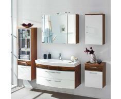 Badezimmer Kombination in Weiß Hochglanz Walnuss kaufen (5-teilig)