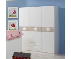 Babyzimmer Kleiderschrank in Weiß 3 türig