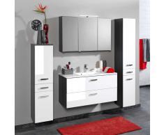 Badezimmer Set in Weiß Grau mit Spiegelschrank (4-teilig)