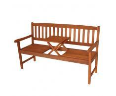 Holz Gartenbank mit integriertem Tisch Eukalyptusholz