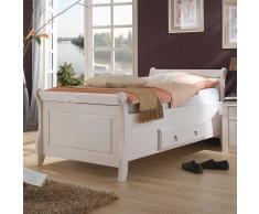 Landhaus Bett in Weiß Kiefer Massivholz