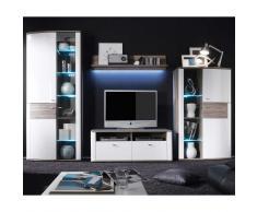 TV Anbauwand in Weiß Hochglanz Eiche dunkel Beleuchtung (4-teilig)