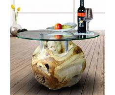 Design Couchtisch aus Teakholz Kugel mit runder Glasplatte