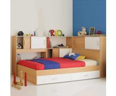 Stauraum Bett für Kinderzimmer Buche Weiß (4-teilig)