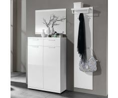 Garderobenset in Weiß Hochglanz Spiegel (3-teilig)