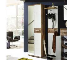 Garderobenschrank mit Spiegeltür  Weiß Hochglanz Eiche