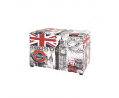 Polstertruhe in Grau Rot London Motiv
