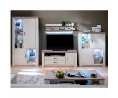 Wohnzimmer Wohnwand in Pinie Weiß Eiche LED Beleuchtung (4-teilig)