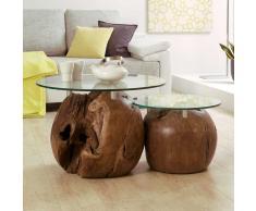 Zweisatztisch aus Teak Massivholz Glas (2-teilig)