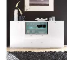 Wohnzimmer Sideboard in Hochglanz Weiß Glas 200 cm