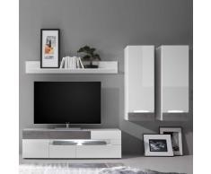Wohnzimmer Anbauwand in Hochglanz Weiß und Beton Grau LED Beleuchtung (4-teilig)