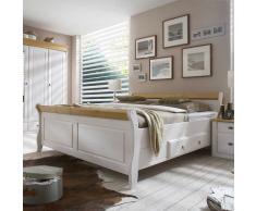 Doppelbett in Weiß Kiefer massiv