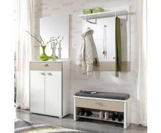 Garderobenset in Weiß-Beige Sitzbank (5-teilig)
