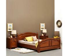 Doppelbett mit Nachtkommoden Eiche dunkel (3-teilig)