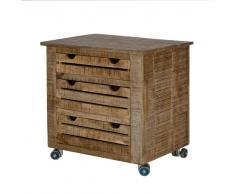 Schreibtisch Rollcontainer aus Mangobaum Massivholz Schubladen