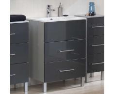 Waschbeckenschrank mit Waschbecken Anthrazit Hochglanz