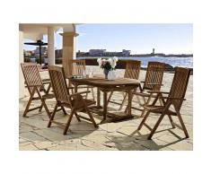 Gartentischgruppe aus Teak Massivholz mit ausziehbarem Tisch (7-teilig)