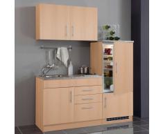 Single-Miniküche in Buchefarben Kühlschrank (4-teilig)