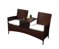 Doppelbank mit Tisch für Garten