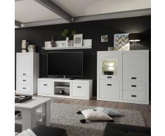 Wohnzimmer Wohnwand in Pinie Weiß 380 cm breit (4-teilig)