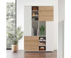 Büroschrank in Weiß und Eiche modern