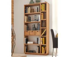 Bücherregal aus Wildeiche Massivholz mit Schubladen