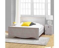 Bett in Weiß Eiche furniert Nachtkommoden (3-teilig)