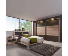 Schlafzimmerset mit Schwebetürenschrank Eiche Braun (4-teilig)