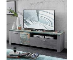 TV Board in Grau Bunt modern