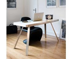 Schreibtisch in Weiß mit Glasplatte