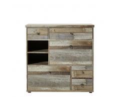 Garderoben Schuhschrank in Grau Treibholz Dekor Shabby Chic