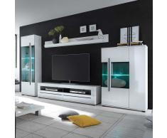 Wohnzimmer Anbauwand in Weiß Hochglanz LED Beleuchtung (4-teilig)