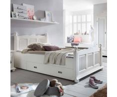 Landhausbett mit Schubladen Weiß Fichte massiv