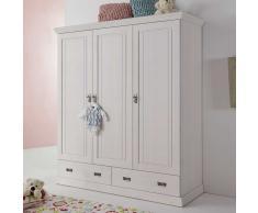 Babyzimmer Kleiderschrank in Weiß abschließbar Kiefer massiv