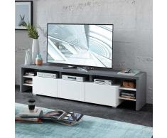TV Board in Weiß und Dunkelgrau modern