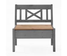 Kleine Sitzbank in Grau Kiefer massiv Stauraum