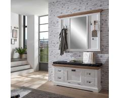 Dielenmöbel im Landhausstil Weiß Braun (2-teilig)