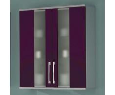 Badezimmer-Hängeschrank mit lila Glasfront