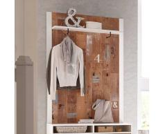 Design Wandgarderobe in Vintage Holz Optik 150 cm hoch
