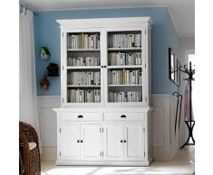 Bücherschrank in Weiß Landhaus Mahagoni Massivholz