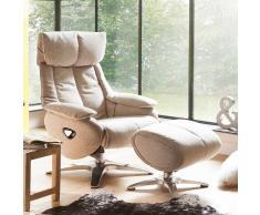 Relax Fernsehsessel in Beige Stoff Hocker (2-teilig)
