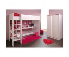 Kinderzimmermöbel Set und Hochbett und Schrank Weiß (2-teilig)