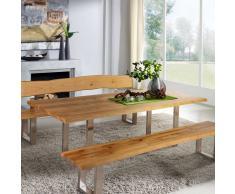 Esszimmertisch mit Baumkante Wildeiche massiv Metall