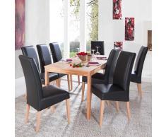 Tischgruppe aus Kernbuche Massivholz und schwarze Stühle (9-teilig)