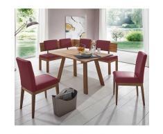 Sitzecke in Rot Kunstleder Wildeiche Massivholz (4-teilig)